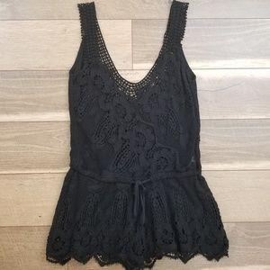 Free People Black Crochet Lace Romper